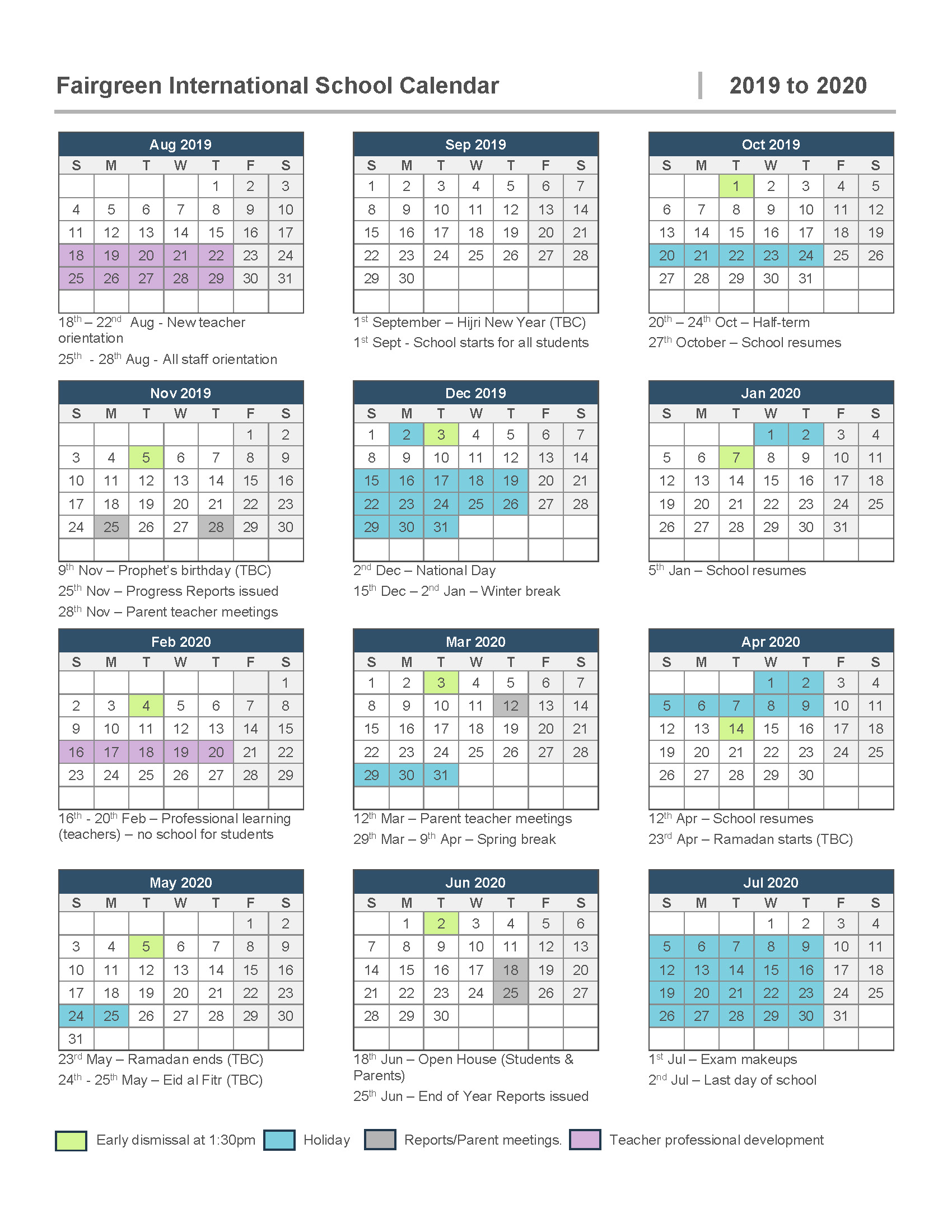 Calendar Sept 2020.Calendar Fairgreen International School In Dubai